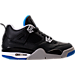 Right view of Boys' Grade School Air Jordan Retro 4 Basketball Shoes in Black/Soar/Matte Silver