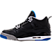 Left view of Boys' Grade School Air Jordan Retro 4 Basketball Shoes in Black/Soar/Matte Silver