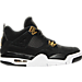 Right view of Boys' Grade School Air Jordan Retro 4 Basketball Shoes in Black/Metallic Gold/White