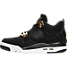 Left view of Boys' Grade School Air Jordan Retro 4 Basketball Shoes in Black/Metallic Gold/White