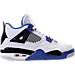 Right view of Boys' Grade School Air Jordan Retro 4 Basketball Shoes in White/Game Royal/Black