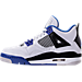 Left view of Boys' Grade School Air Jordan Retro 4 Basketball Shoes in White/Game Royal/Black