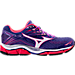 Right view of Women's Mizuno Wave Enigma 6 Running Shoes in Purple/Coral