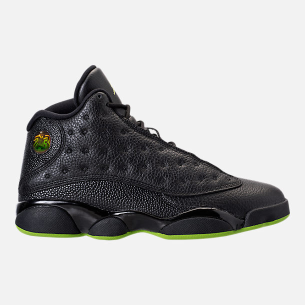 Right view of Men's Air Jordan 13 Retro Basketball Shoes in Black/Altitude Green