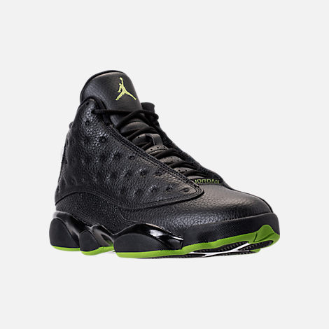 Three Quarter view of Men's Air Jordan 13 Retro Basketball Shoes in Black/Altitude Green