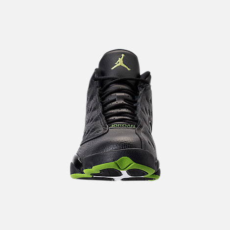 Front view of Men's Air Jordan 13 Retro Basketball Shoes in Black/Altitude Green