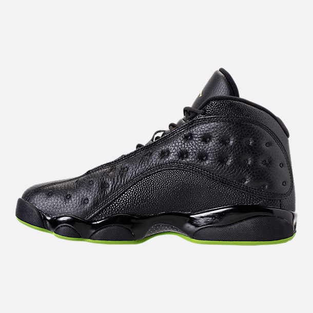 Left view of Men's Air Jordan 13 Retro Basketball Shoes in Black/Altitude Green