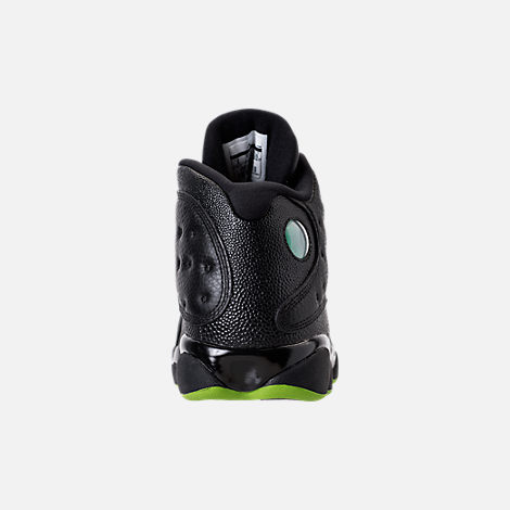 Back view of Men's Air Jordan 13 Retro Basketball Shoes in Black/Altitude Green