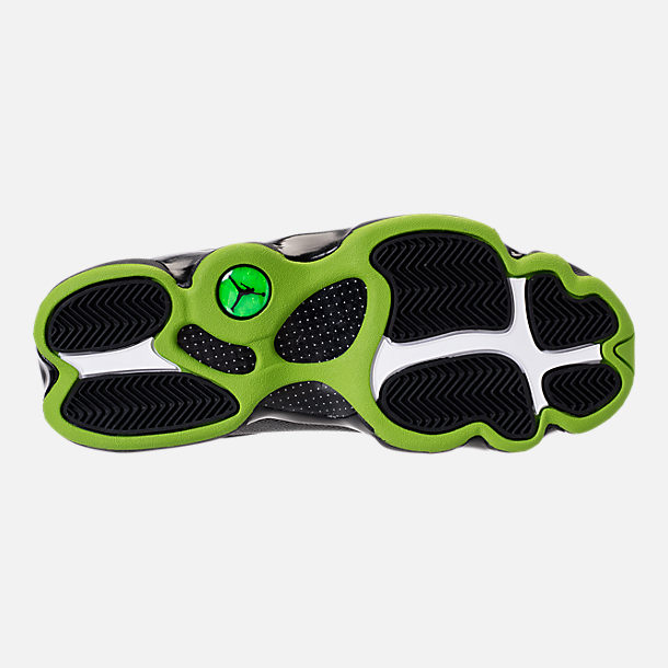 Bottom view of Men's Air Jordan 13 Retro Basketball Shoes in Black/Altitude Green