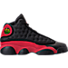 Right view of Boys' Grade School Air Jordan Retro 13 Basketball Shoes in Black/True Red/White