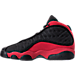 Left view of Boys' Grade School Air Jordan Retro 13 Basketball Shoes in Black/True Red/White
