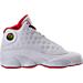 Right view of Boys' Grade School Air Jordan Retro 13 Basketball Shoes in White/Metallic/University Red/Black
