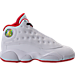 Right view of Boys' Preschool Jordan Retro 13 Basketball Shoes in White/Metallic/University Red/Black