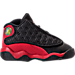 Right view of Boys' Toddler Jordan Retro 13 Basketball Shoes in Black/True Red/White