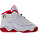 Right view of Boys' Toddler Jordan Retro 13 Basketball Shoes in White/Metallic Silver/University Red