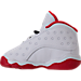 Left view of Boys' Toddler Jordan Retro 13 Basketball Shoes in White/Metallic Silver/University Red