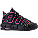 Right view of Girls' Grade School Nike Air More Uptempo Basketball Shoes in Black/Pink Blast