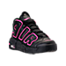 Three Quarter view of Girls' Grade School Nike Air More Uptempo Basketball Shoes in Black/Pink Blast