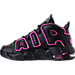 Left view of Girls' Grade School Nike Air More Uptempo Basketball Shoes in Black/Pink Blast