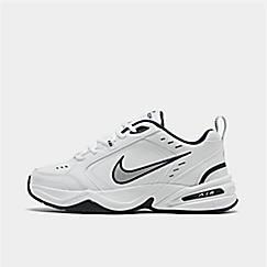 나이키 맨 Mens Nike Air Monarch IV Training Shoes,White/Metallic Silver/Mid-Navy
