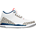 Right view of Boys' Preschool Jordan Retro 3 Basketball Shoes in White/Fire Red/Tr Blu/Cmnt Gry