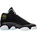 Right view of Girls' Grade School Air Jordan Retro 13 (3.5y - 9.5y) Basketball Shoes in Black/Metallic Gold/Mint Foam/White