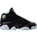 Right view of Girls' Preschool Air Jordan Retro 13 Basketball Shoes in Black/Metallic Gold/Mint Foam/White