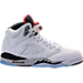 Right view of Boys' Grade School Air Jordan Retro 5 Basketball Shoes in White/University Red/Black/Silver