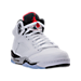 Three Quarter view of Boys' Grade School Air Jordan Retro 5 Basketball Shoes in White/University Red/Black/Silver