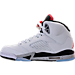 Left view of Boys' Grade School Air Jordan Retro 5 Basketball Shoes in White/University Red/Black/Silver