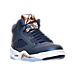 Three Quarter view of Boys' Grade School Air Jordan 5 Retro Basketball Shoes in Obsidian/White/Metallic Red Bronze