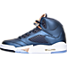 Left view of Boys' Grade School Air Jordan 5 Retro Basketball Shoes in Obsidian/White/Metallic Red Bronze