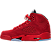 Left view of Boys' Grade School Air Jordan 5 Retro Basketball Shoes in University Red/Black/University Red