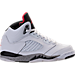 Right view of Boys' Preschool Air Jordan Retro 5 Basketball Shoes in White/University Red/Black/Matte Silver