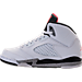 Left view of Boys' Preschool Air Jordan Retro 5 Basketball Shoes in White/University Red/Black/Matte Silver