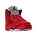 Three Quarter view of Boys' Preschool Jordan 5 Retro Basketball Shoes in University Red/Black