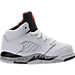 Right view of Boys' Toddler Jordan Retro 5 Basketball Shoes in White/University Red/Black/Matte Silver