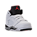 Three Quarter view of Boys' Toddler Jordan Retro 5 Basketball Shoes in White/University Red/Black/Matte Silver