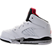 Left view of Boys' Toddler Jordan Retro 5 Basketball Shoes in White/University Red/Black/Matte Silver
