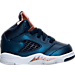 Right view of Boys' Toddler Air Jordan Retro 5 Basketball Shoes in Obsidian/White/Metallic Red Bronze