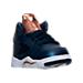 Three Quarter view of Boys' Toddler Air Jordan Retro 5 Basketball Shoes in Obsidian/White/Metallic Red Bronze