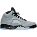 Right view of Girls' Grade School Air Jordan Retro 5 Basketball Shoes in Wolf Grey/Black