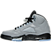 Left view of Girls' Grade School Air Jordan Retro 5 Basketball Shoes in Wolf Grey/Black