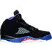 Right view of Girls' Preschool Air Jordan Retro 5 Basketball Shoes in Black/Ember Glow/Fierce Purple