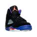 Three Quarter view of Girls' Preschool Air Jordan Retro 5 Basketball Shoes in Black/Ember Glow/Fierce Purple