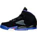 Left view of Girls' Preschool Air Jordan Retro 5 Basketball Shoes in Black/Ember Glow/Fierce Purple