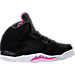 Right view of Girls' Preschool Jordan Retro 5 Basketball Shoes in Black/Deadly Pink/White
