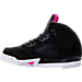Left view of Girls' Preschool Jordan Retro 5 Basketball Shoes in Black/Deadly Pink/White