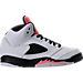 Right view of Girls' Preschool Jordan Retro 5 Basketball Shoes in White/Sunblush/Black