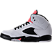 Left view of Girls' Preschool Jordan Retro 5 Basketball Shoes in White/Sunblush/Black